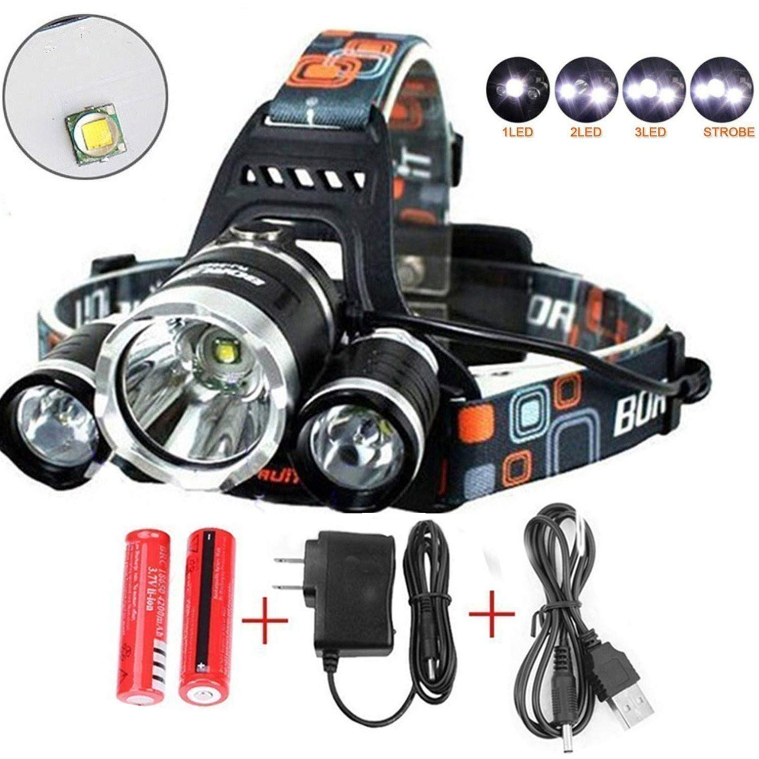 Brightest and Best 8000 Lumen Bright Headlamp Flashlight, IMPROVED LED with Rechargeable Batteries for Reading Outdoor Running Camping Fishing Walking - Waterproof Headlight …