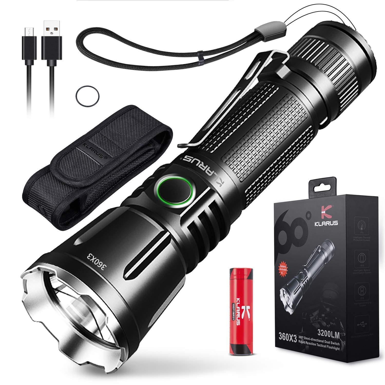 Taktische Taschenlampe 360X3 3200 Lumen Klarus XT11X LED USB Wiederaufladbare Polizei Taschenlampe mit 18650 IMR Batterie und Batteriekasten   (2019 Neueste, 930FT)
