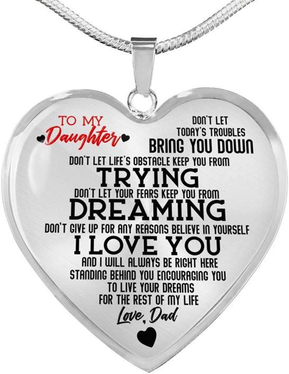 To my Daughter I will always Love Dad Luxury Heart Shape Necklace Gift Birthday