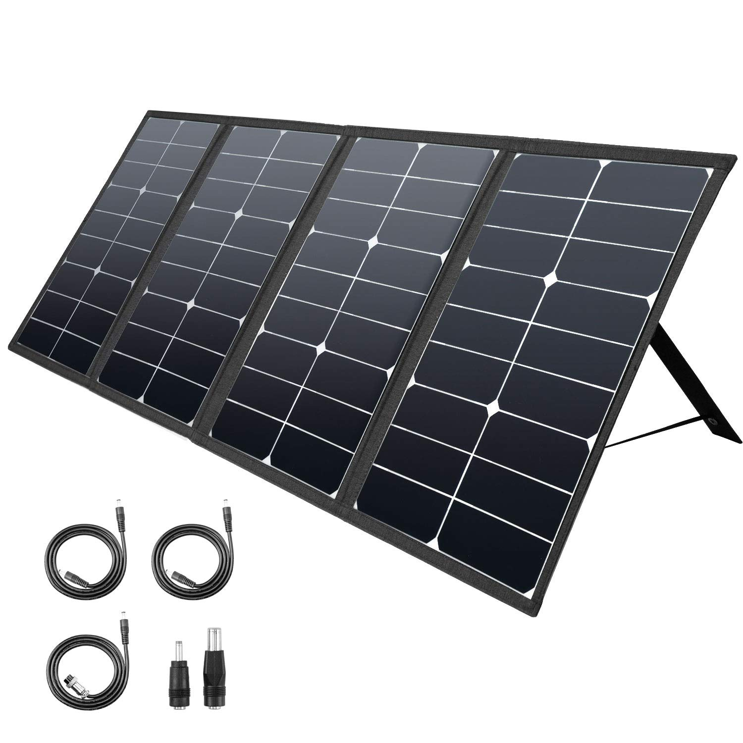 ROCKPALS 80W Portable Solar Panel Charger, Parallel Foldable Solar Panel for ROCKPALS 250W/300W Portable Power Station, 8mm for Goal Zero Yeti Power Station/Jackery Explorer 160/240 by ROCKPALS