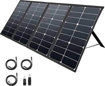 ROCKPALS 80W Portable Solar Panel Charger, Parallel Foldable Solar Panel for ROCKPALS 250W/300W Portable Power Station, 8mm for Goal Zero Yeti Power Station/Jackery Explorer 160/240