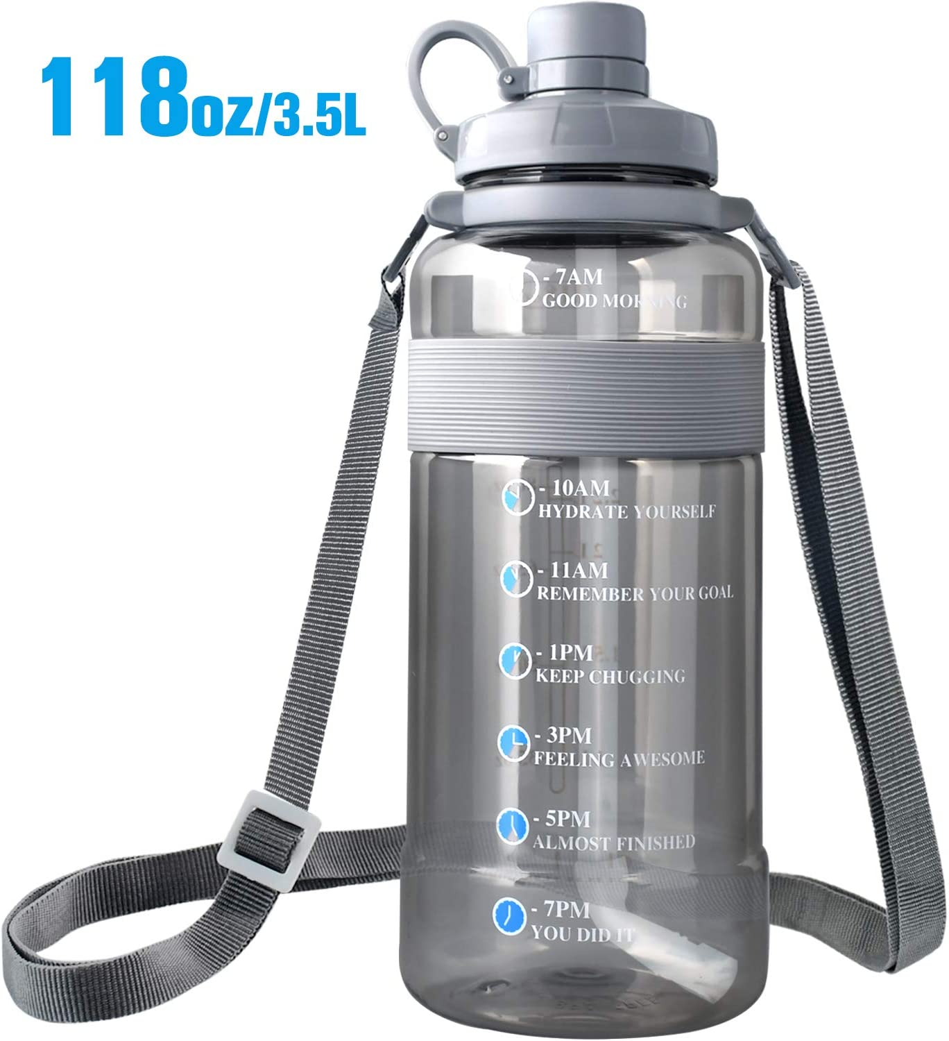 75oz, Blue Large Water Bottle with Straw BPA Free Sports Water Bottle with Strap Portable Motivational Water Bottle with Time Marker Water Bottle Leak Proof Gallon Water Jug Wide Mouth