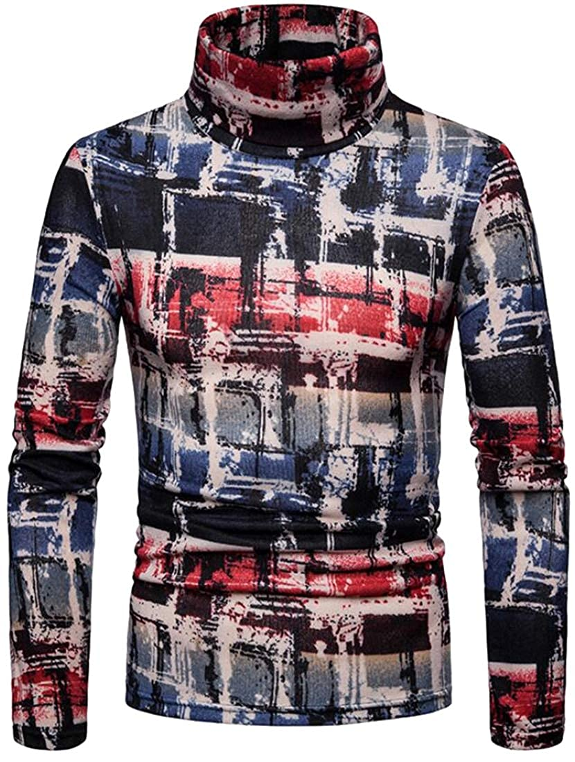 Fubotevic Mens Warm Plus Size High Neck Plaid with Velvet Long Sleeve Casual Pullover Sweater