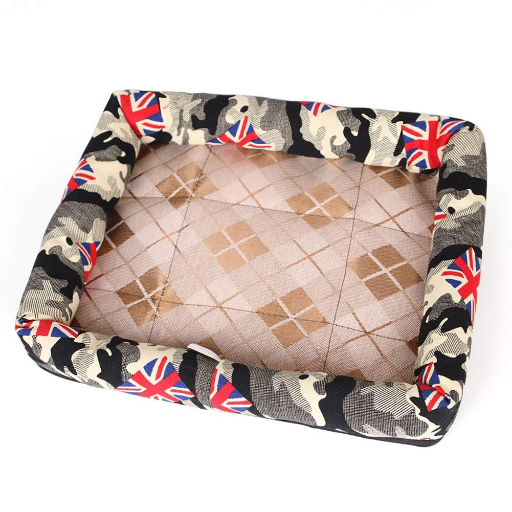 Camouflage MediumPet Summer cat Kennel ice Silk Cool pad, Mattress, crates and Bed,blueestrawberry,XL