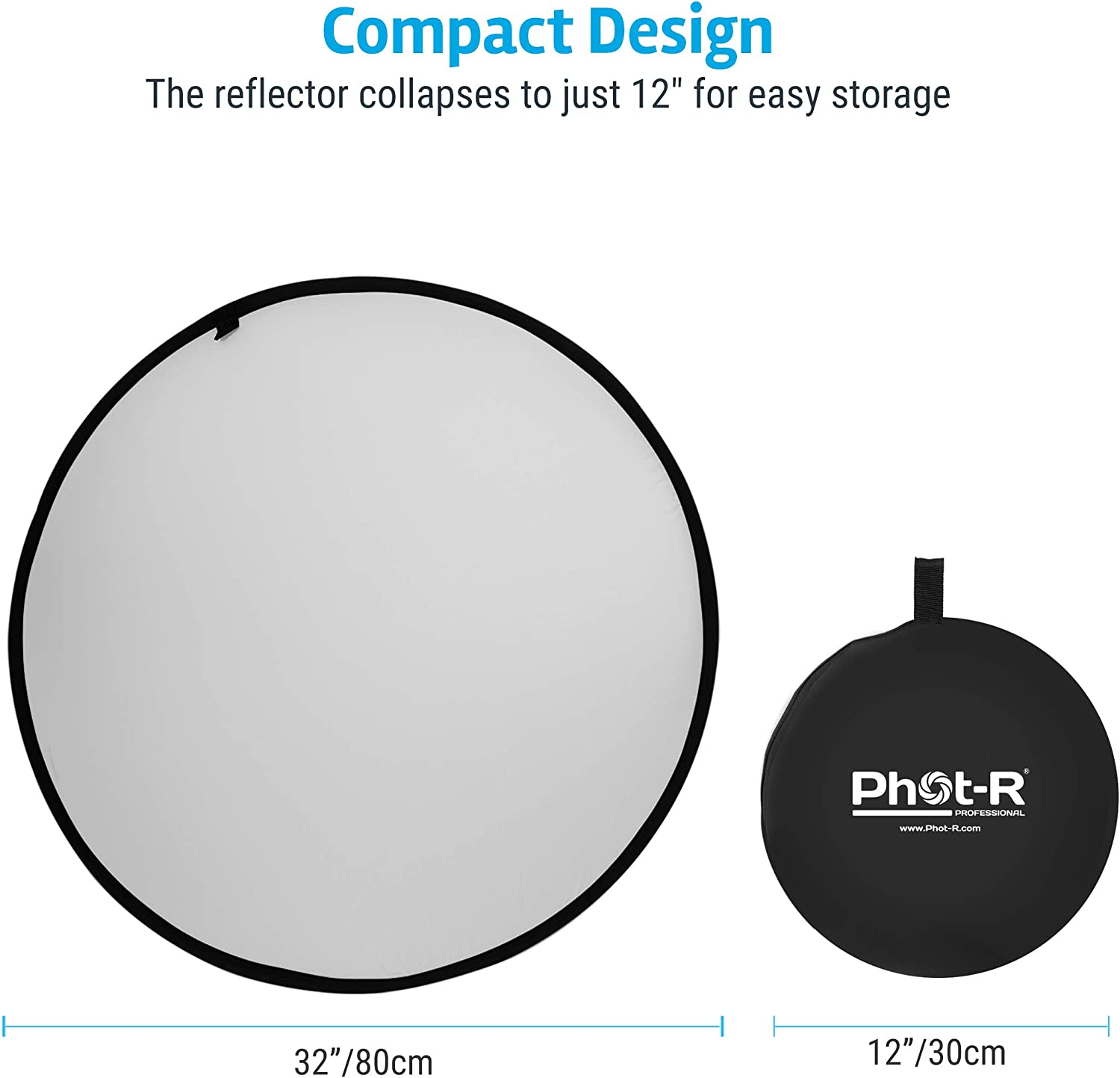 """Carry Case Photography 1.5x2m Reflector Kit for Photoshoots Gold /& Translucent 59/""""x79/"""" Collapsible Portable Studio Diffuser in Black Silver White Phot-R 5in1 Studio Light Reflector 150x200cm"""