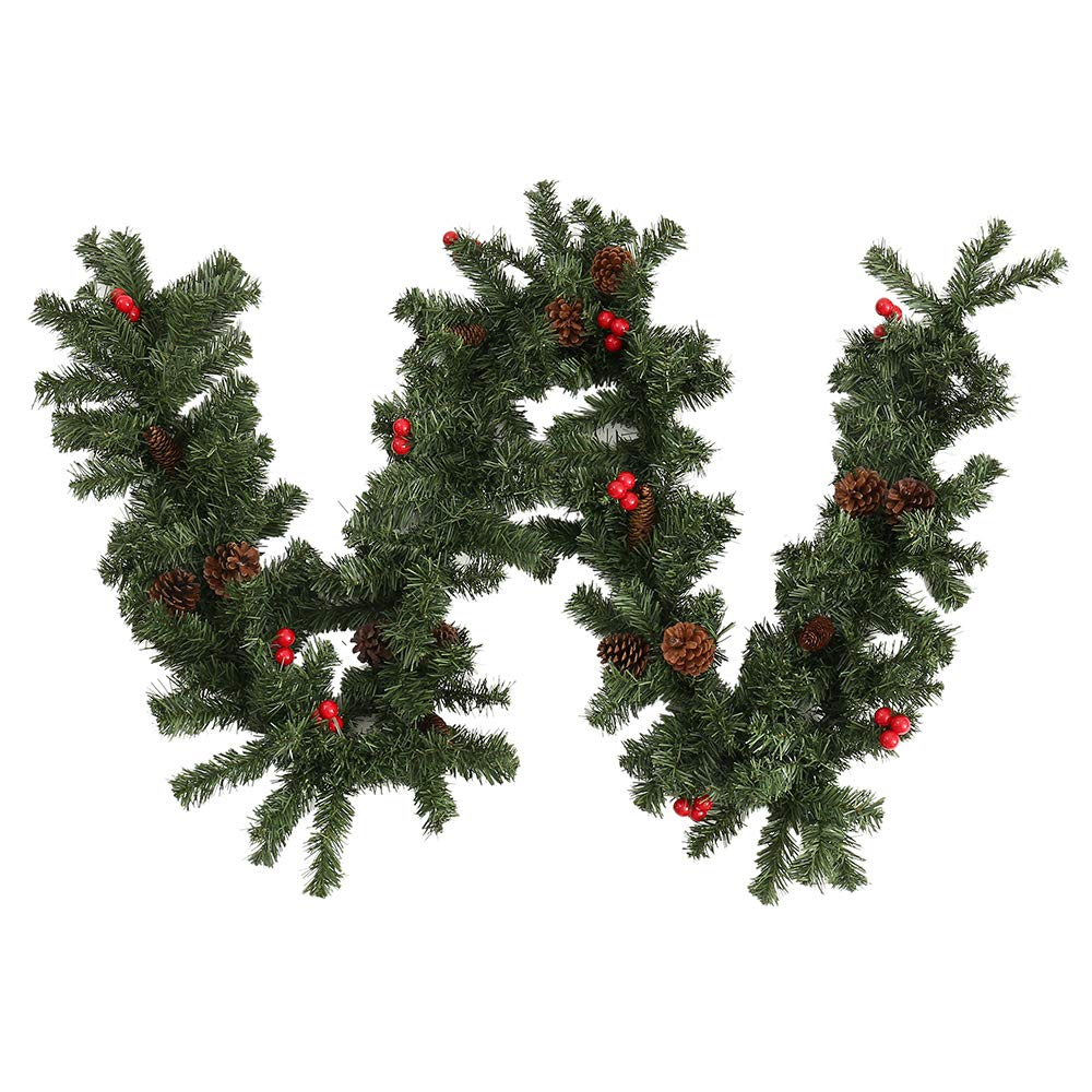 2.7M/9FT Christmas Garlands for Fireplace Stairs Christmas Garlands Decorations with Red Berries Pine Cones Xmas Tree Decorations bennyuesdfd