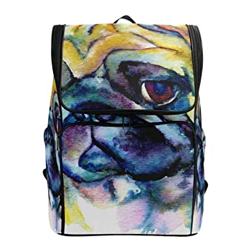 173da88ea526 LoveBea Laptop Backpack Blue Pug Painting College Backpack for Women ...
