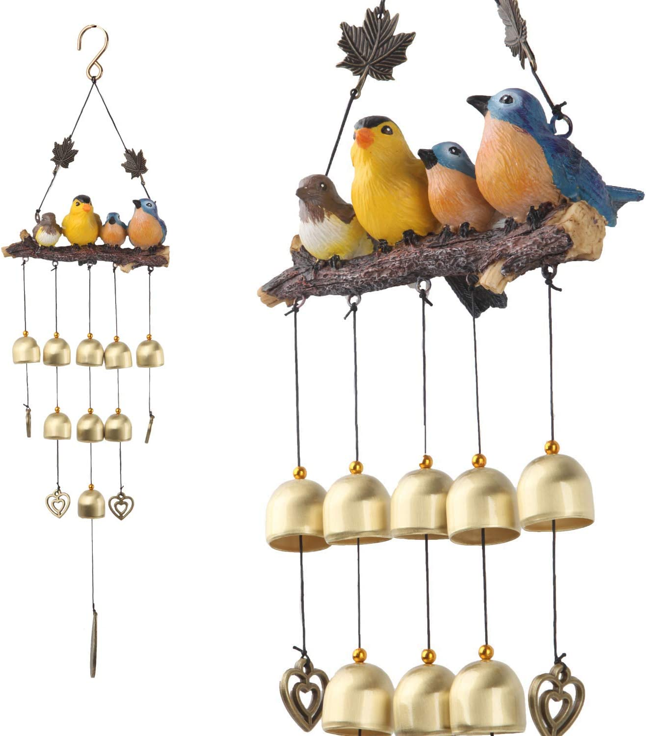 Gardenvy Birds Wind Chimes with Bells Decoration for Outdoor Garden and Home Decor - Blue