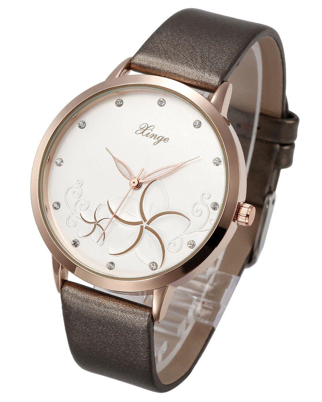 Top Plaza Women Ladies Luxury Elegant Rose Gold Case PU Leather Band Flower Pattern Rhinestones Business Analog Quartz Wristwatch 30M Waterproof - Gray