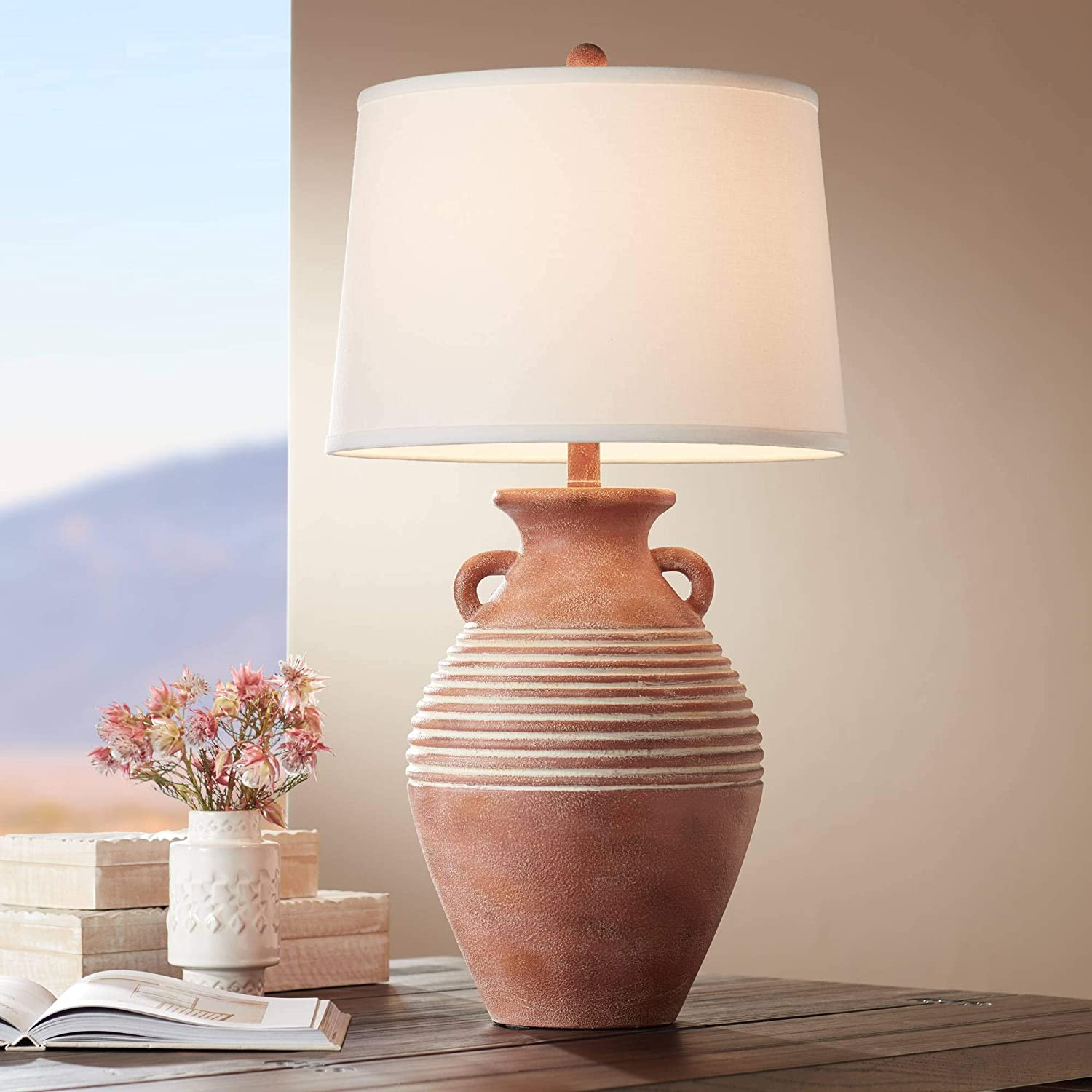 Sierra Rustic Table Lamp Southwest Style Red Brown Sandstone Linen Drum Shade for Living Room Bedroom Bedside Nightstand Office Family - John Timberland