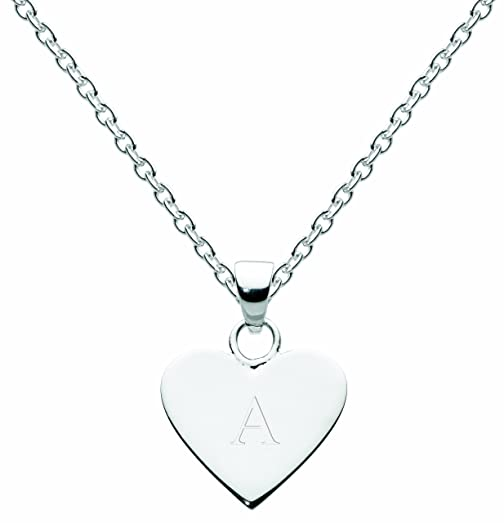 Dew Sterling Silver Heart Initial Necklace Kt781