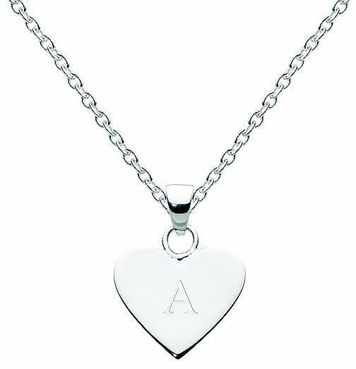Dew Sterling Silver Heart Initial Necklace CeZzajFJwT