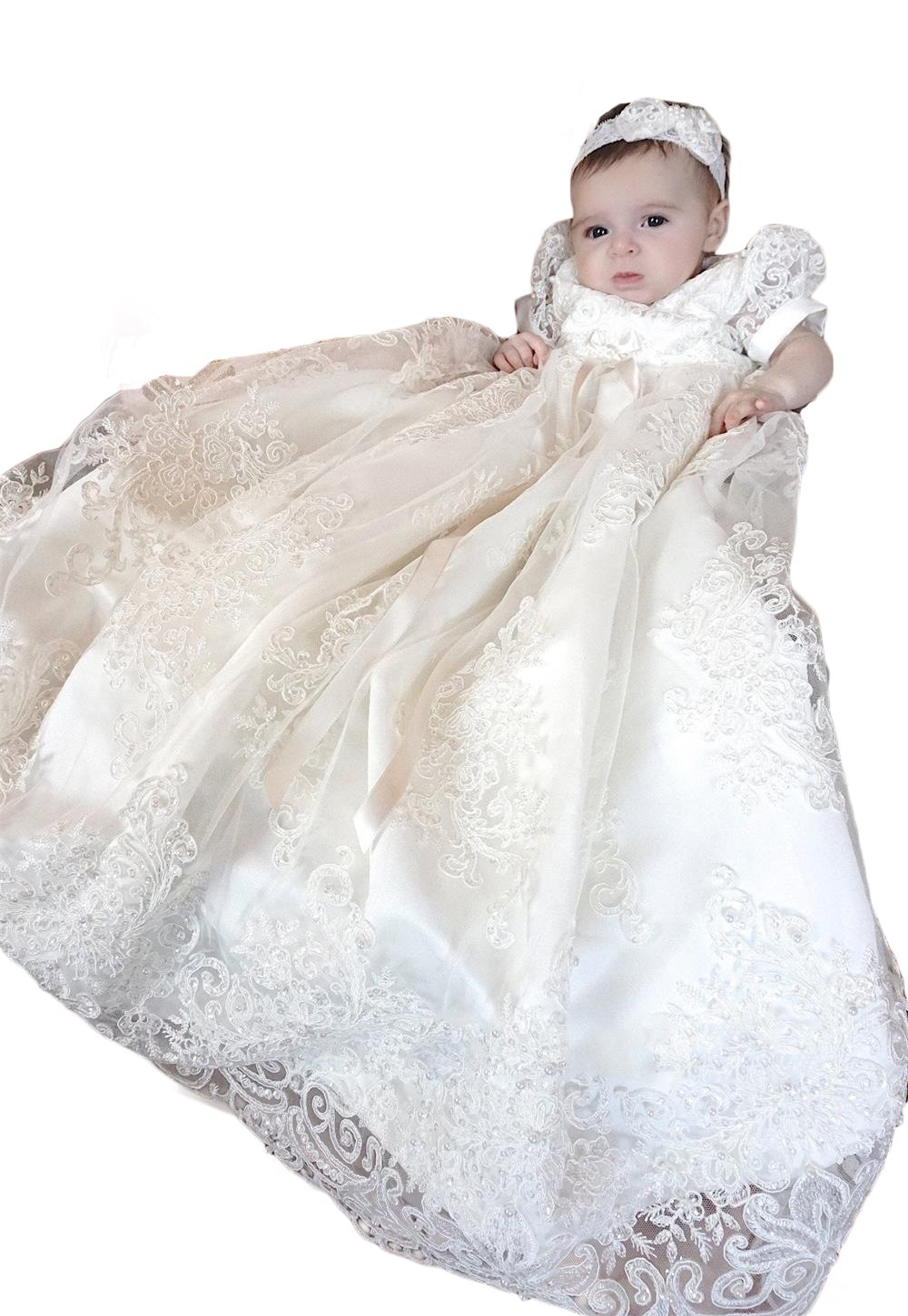 YSMO Flower Lace Christening Gowns For Girls With Bonnet Long Infant Toddler Baptism Dresses