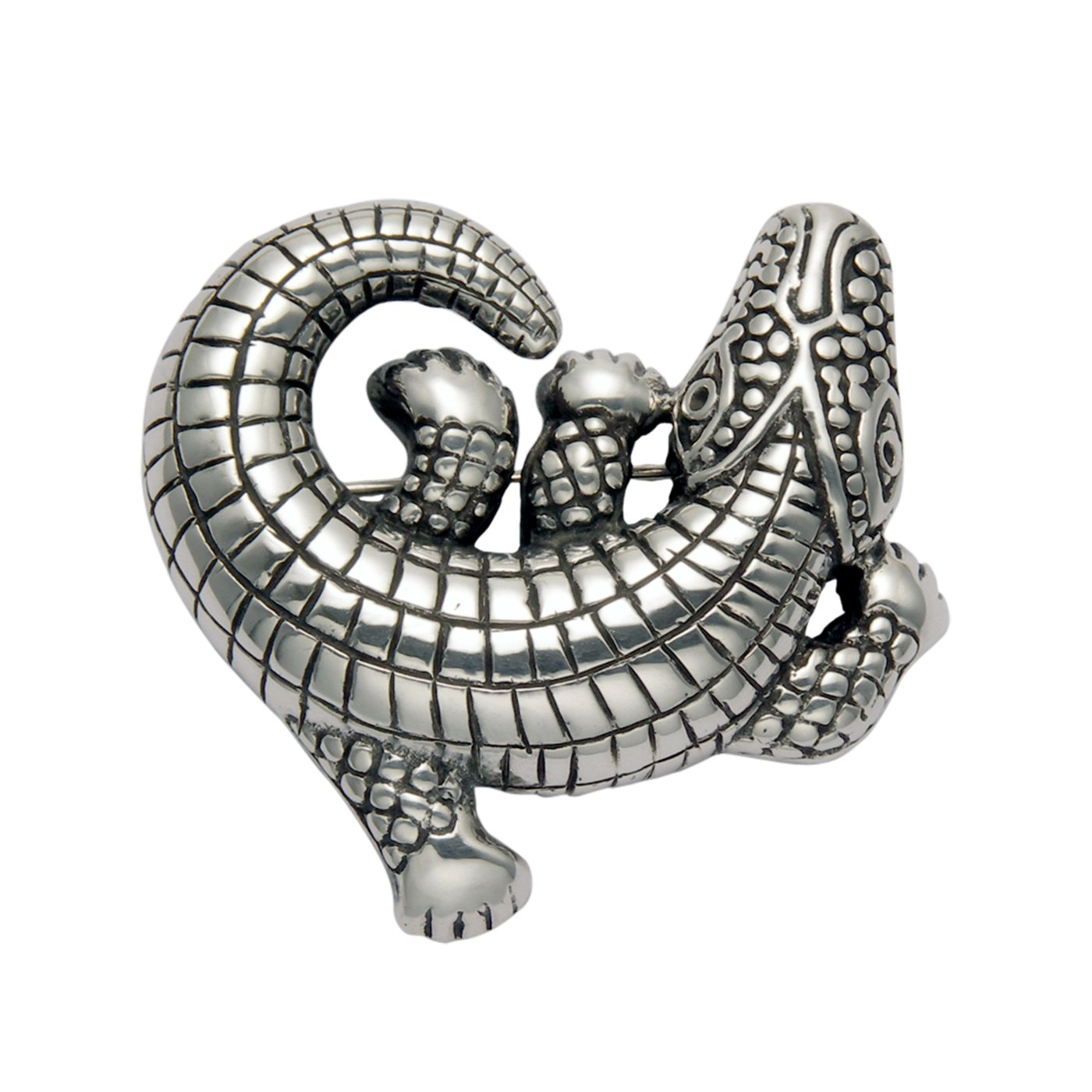 Sterling Silver Alligator Pin w/Curled Tail by Wild Things
