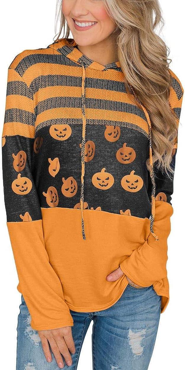 Grace's Secret Women's Halloween Hoodies Pumpkin Long Sleeve Stripe Tunic Sweatshirt Pullover Blouse Top: Clothing