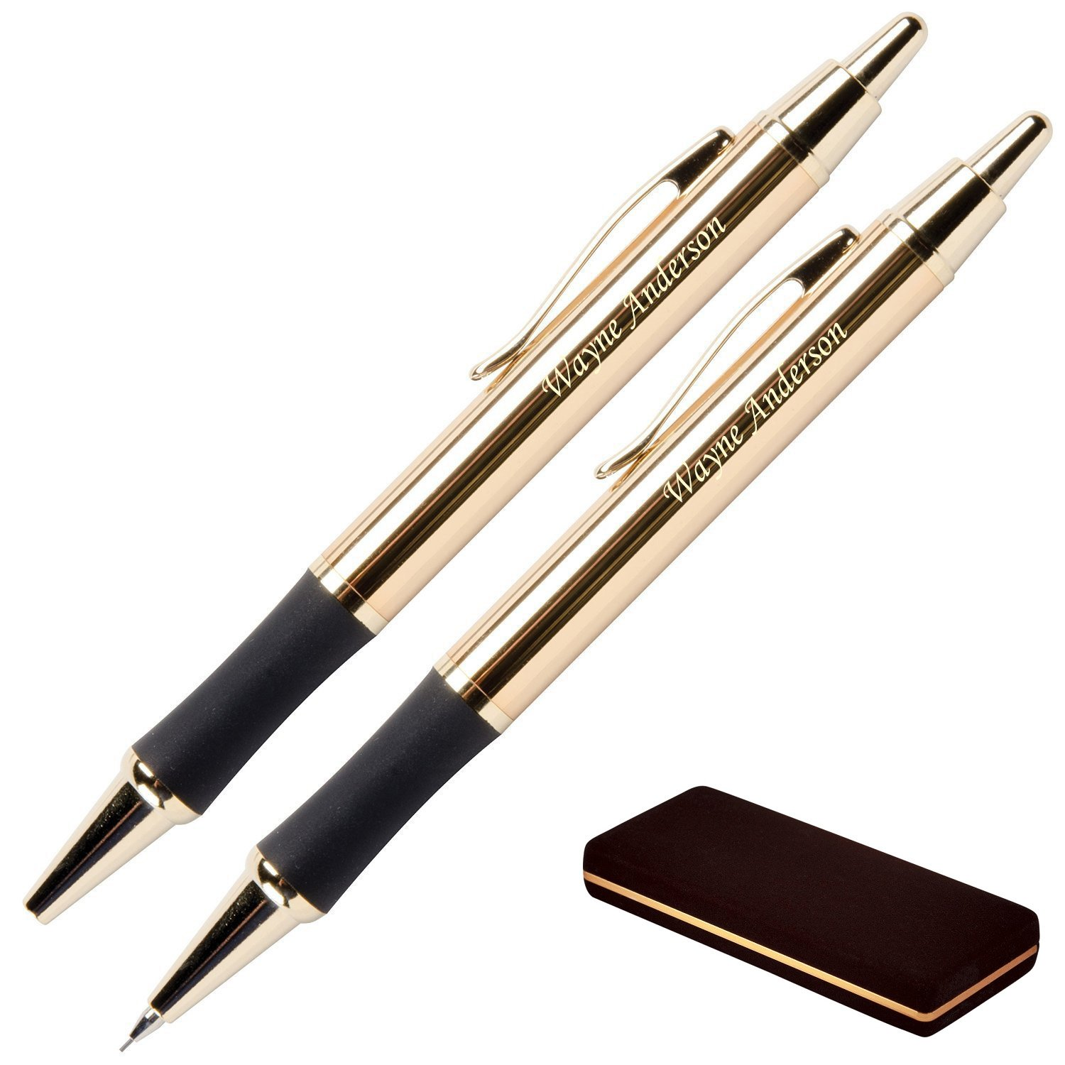 Dayspring Pens - Personalized Monroe 24 Karat Gold Plated Gift Pen and Pencil Set. Custom Engraved Fast, Great Gift for Man or Woman with Real Gold Plating. Free Case Included