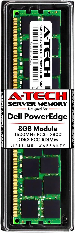 A-Tech 8GB RAM for Dell PowerEdge R320, R420, R420XR, R520, R620, R720, R720XD, R820, R920 | DDR3 1600MHz ECC-RDIMM PC3-12800 2Rx4 1.5V ECC Registered DIMM Server Memory Upgrade Module