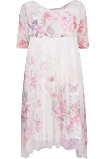 eeb0a7059bc05 ... Floral Print Lace Overlay Midi Dress. £49.99 · Yours Clothing Women s  Plus Size London   Pink Midi Dress with Cowl Neck