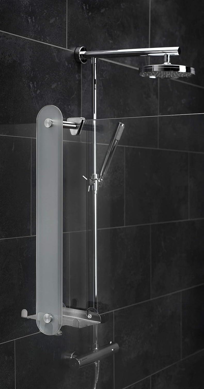 AMARE Glashandtuchhalter Badetuchstange Handtuchhalter Badetuchhalter kleben oder Bohren ca 58 cm