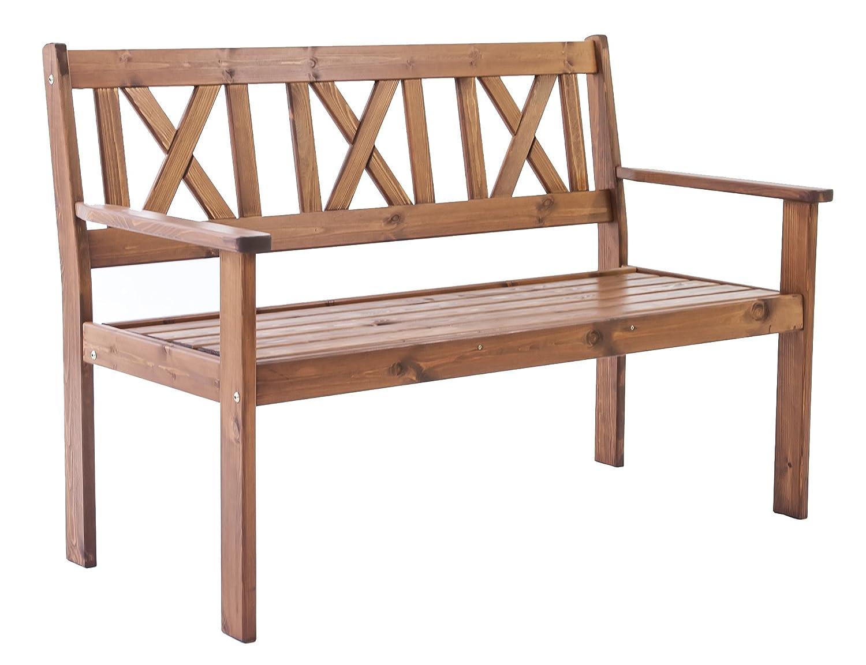 Ambientehome Evje Banc de Jardin 2Places en Bois Massif ca. 120 x 64 x 90 cm, Sitzhöhe: ca. 43 cm Blanc SPABW 90012