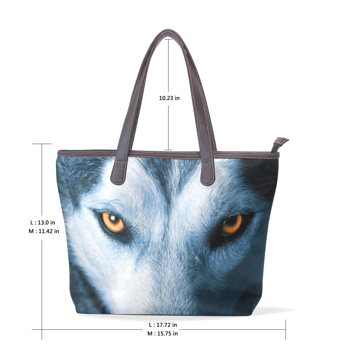 ed846036db28 Amazon.com: LORVIES Eyes Of Wolf Large Tote PU Leather Handle ...