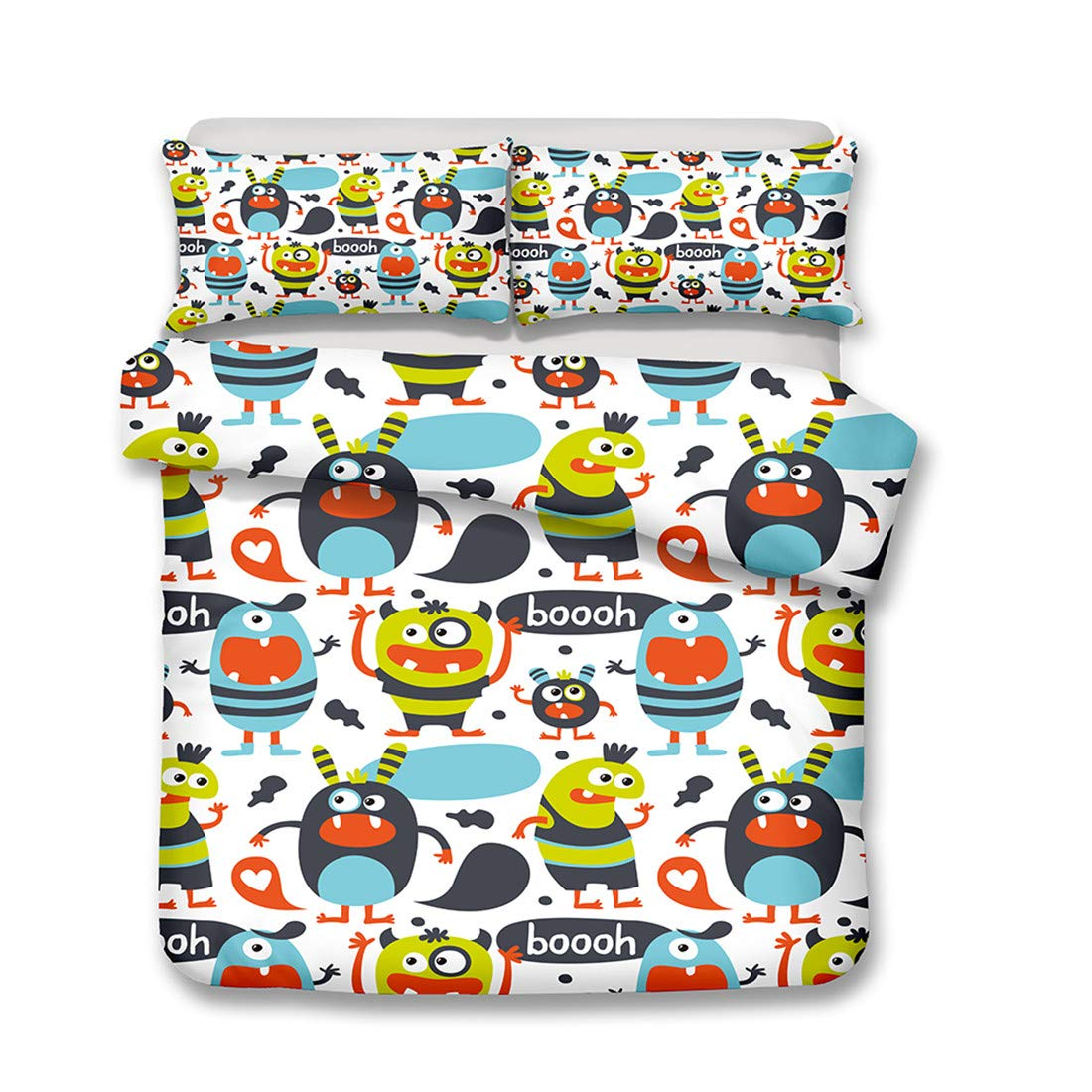 Mrsrui Bed Sheet Set Super Soft Microfiber Kid Cartoon ET Printed Sheets Wrinkle and Hypoallergenic-3 Piece(1 Quilt Sheets + 2 Pillowcase) by Mrsrui