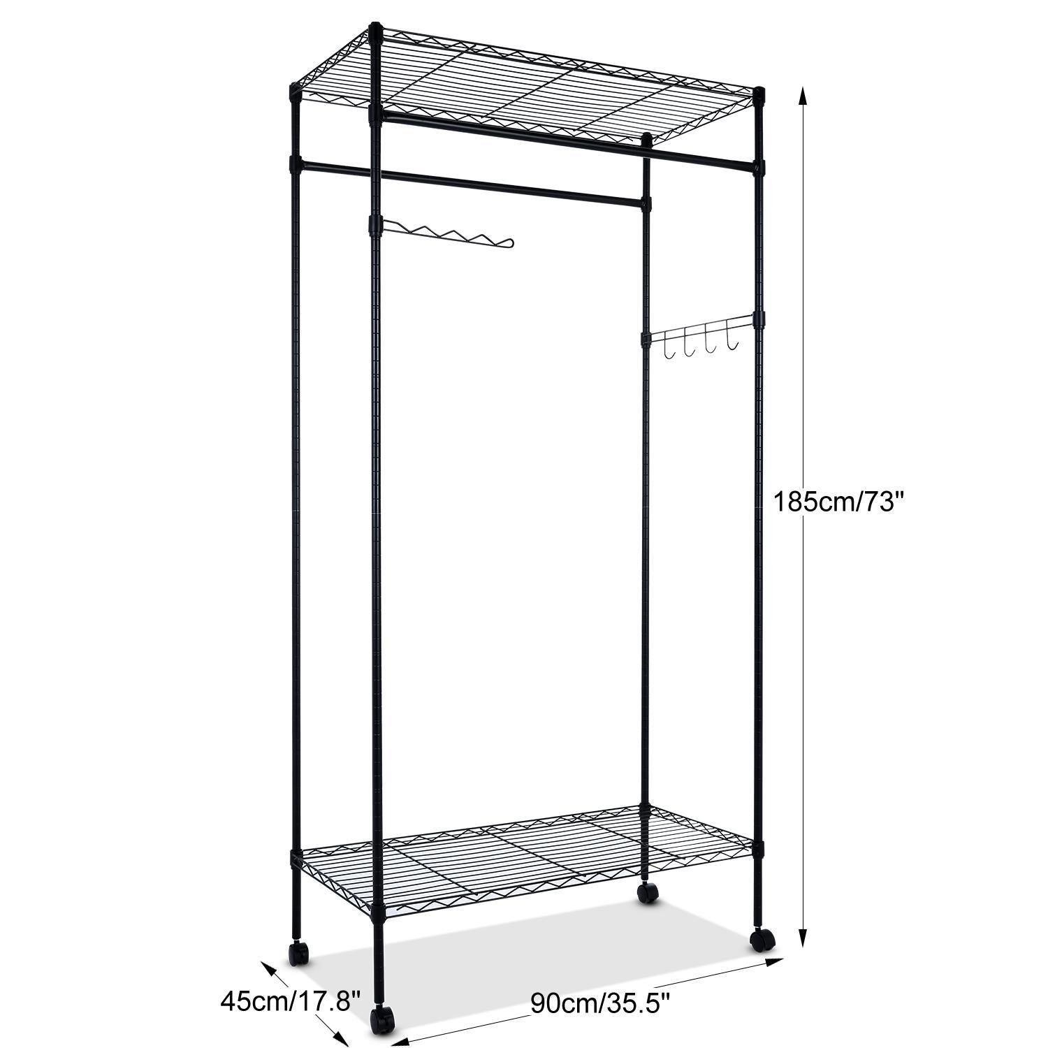Amazoncom Heavy Duty Rolling Garment Rack With Wheels And Shelves,