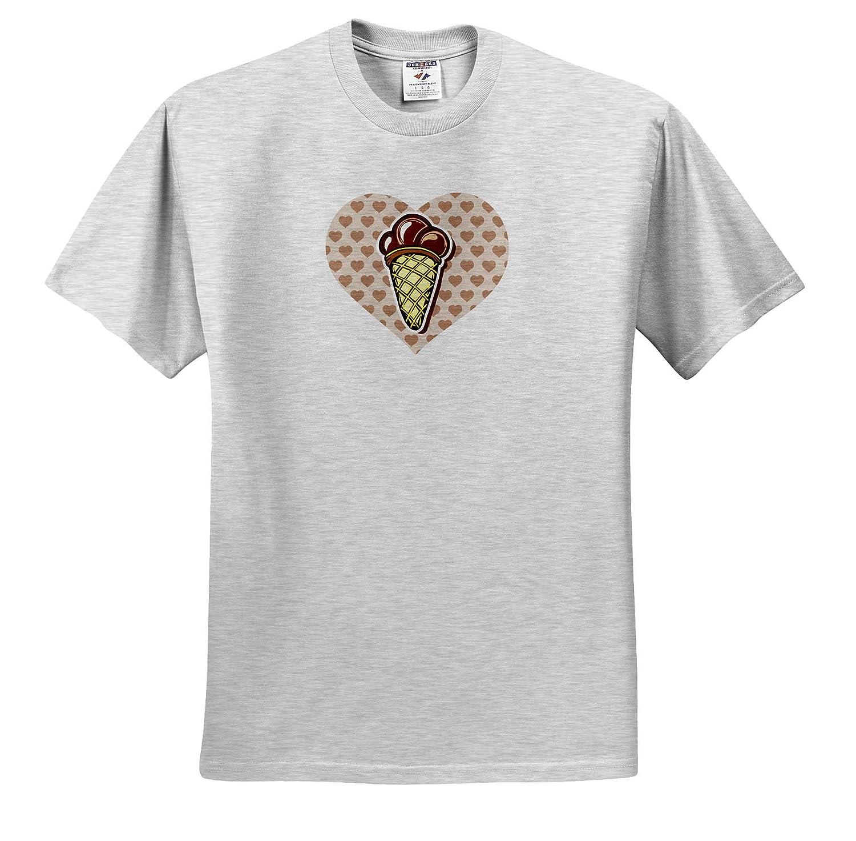 Chocolate Ice Cream Cone Over Heart 3dRose Russ Billington Designs T-Shirts