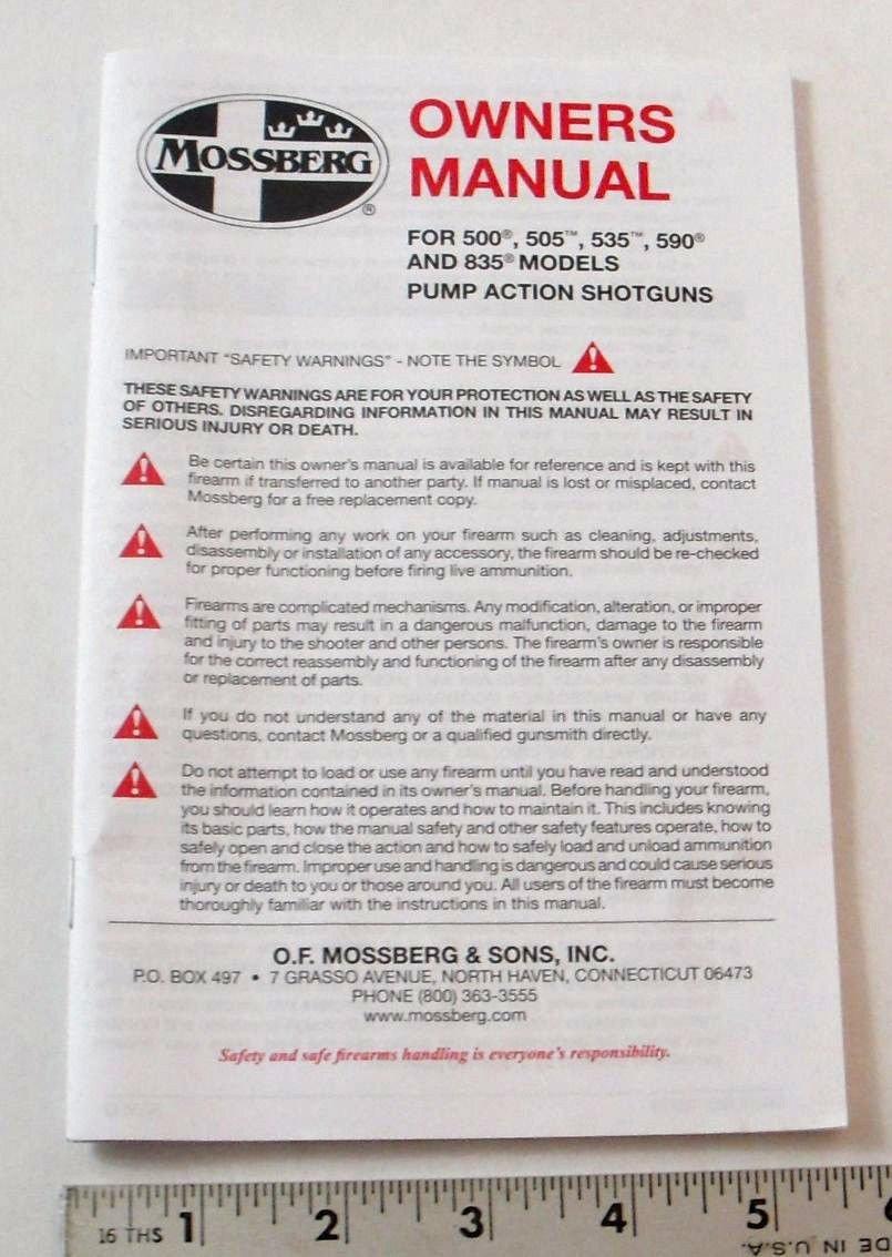 amazon com mossberg owners manual model 500 505 535 590 rh amazon com Barska Mossberg 500A Forearm Mossberg Owners