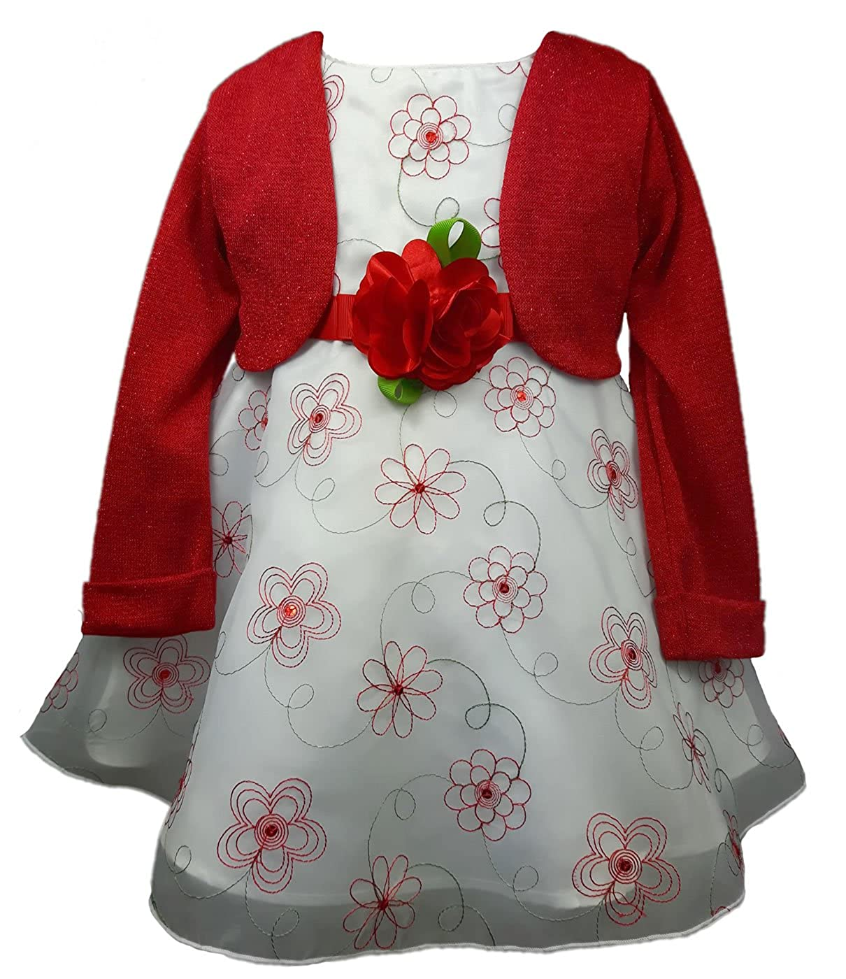 56,62,68,74,80,86 TrendyDress Traum Baby M/ädchen Kleid 3D Petticoatkleid Taufkleid inkl Strick-Bolero Gr