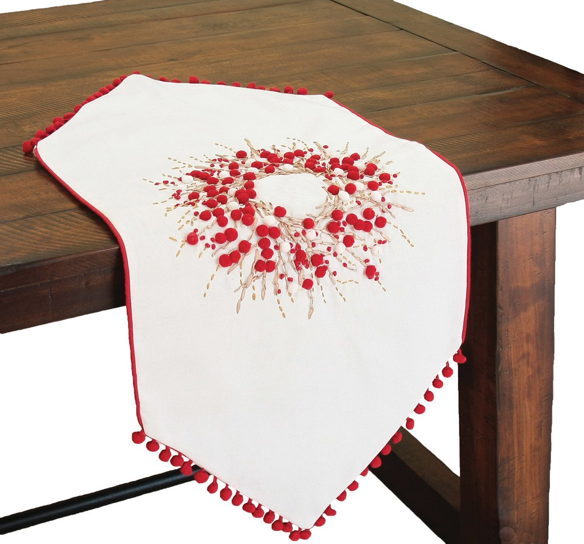 Xia Home Fashions Handmade Holiday Berry Wreath Ribbon and Pom Pom Embroidered Christmas Table Runner, 16 by 36-Inch