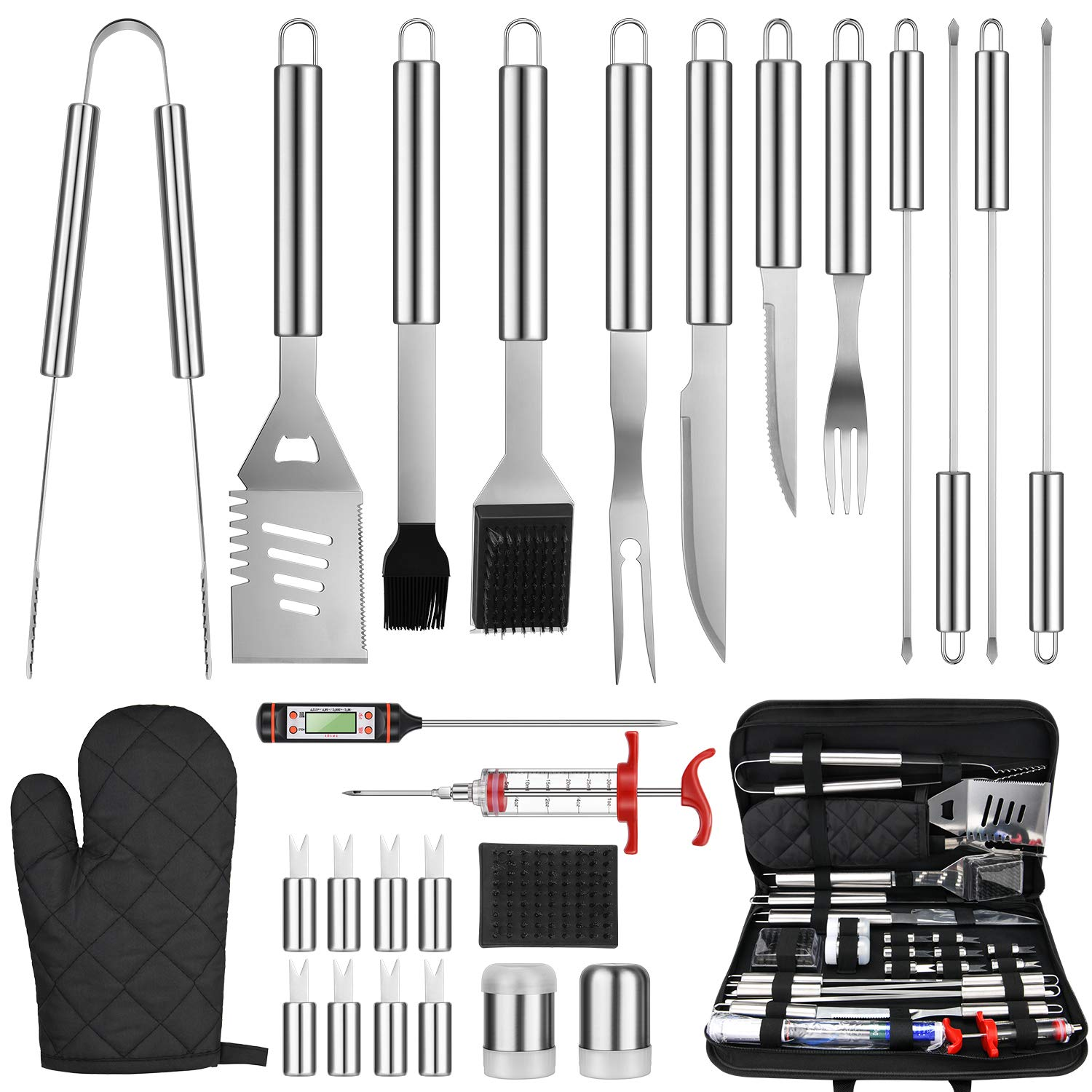 One Sight 27PCS BBQ Grill Accessories Tools Set, Stainless Steel Grilling Kit with Oxford Cloth Case, Grill Utensil Set Barbecue Tool Set for Men Women, Barbeque Accessories with Thermometer and Meat