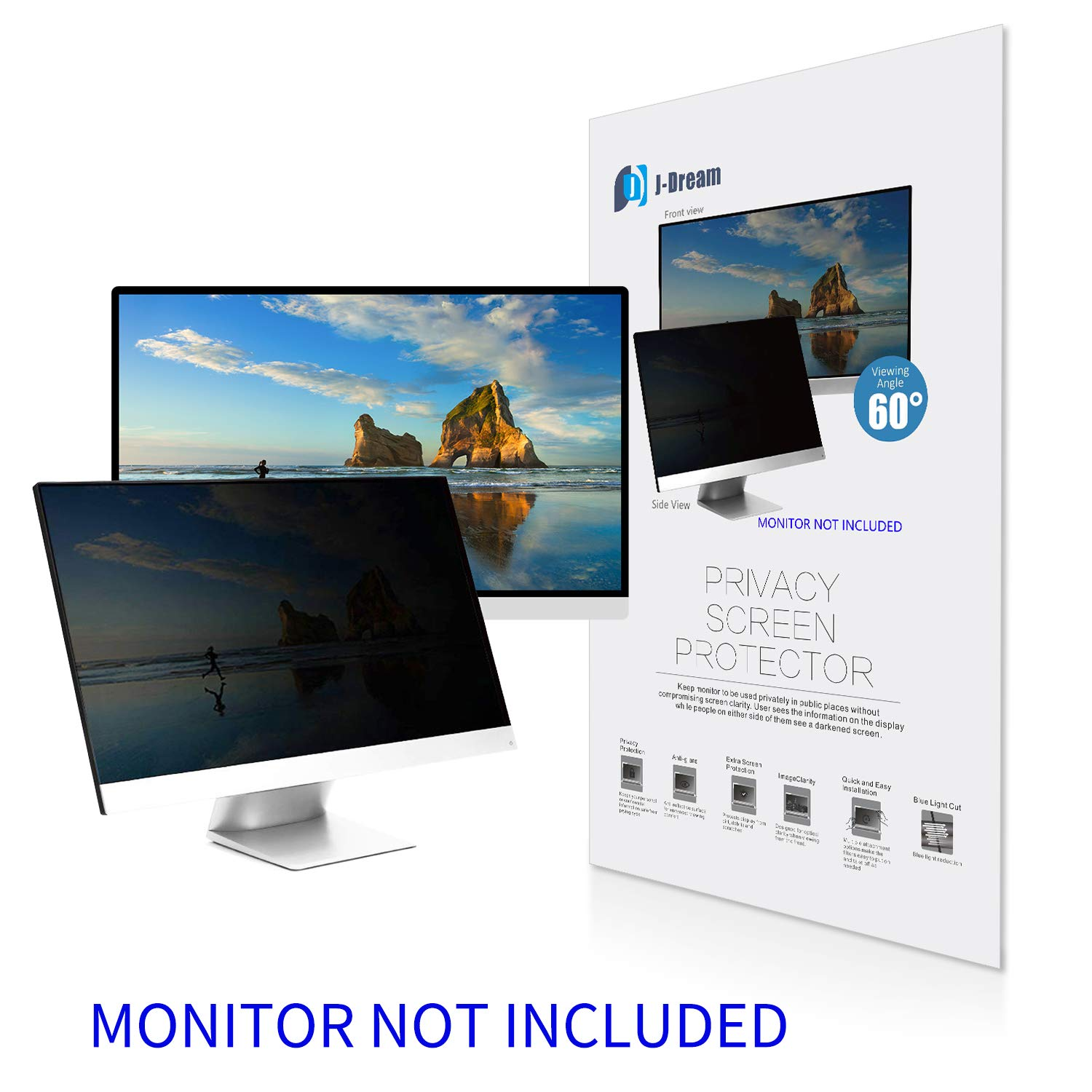 20 Inch Privacy Screen Filter for Widescreen Monitor (16:9 Aspect Ratio) - Please Measure Carefully!