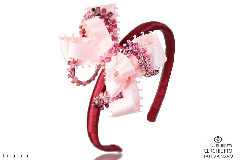 Cinta para el pelo bordeaux e rosa Carla hecho a mano Made in ...