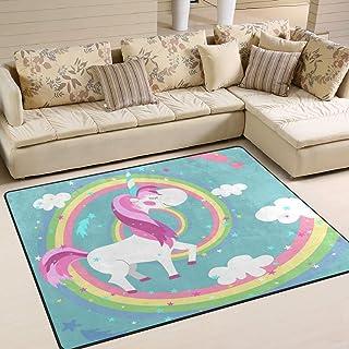 Naanle - Alfombra Antideslizante de Unicornio para Sala de Estar, Dormitorio, Cocina, 120 x 160 cm, diseño de Unicornio arcoíris, 120 x 180 cm(4' x 6')