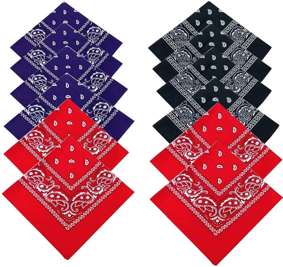 Bandanas 12 Pack Organic 100/% Cotton Novelty Cowboy Bandana Bandanas For Men Bandanas For Dogs Headbands For Women