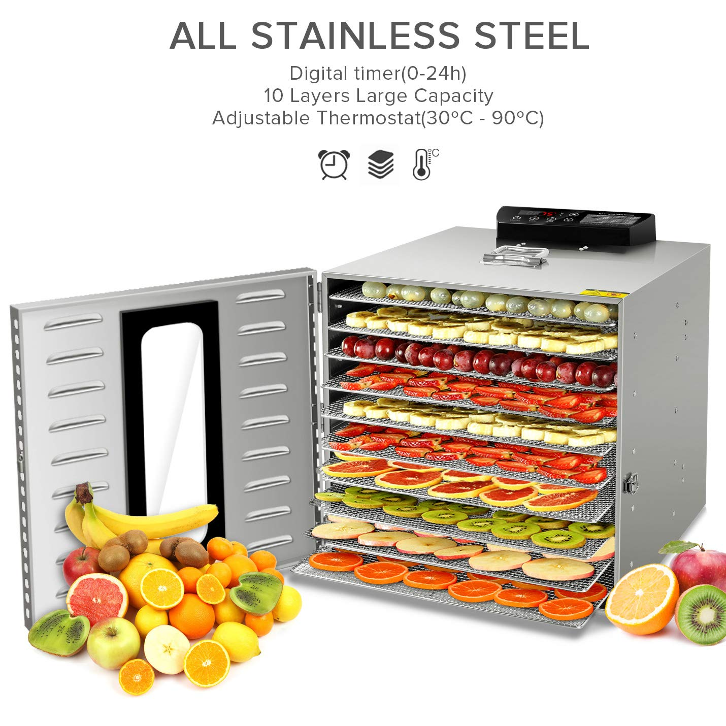 Commercial Stainless Steel Food Dehydrator-Raw Food & Jerky Fruit Dehydrator-1000W Preserve Food Nutrition Professional Household Vegetable Dryer,with 0~24 Hours Digital Timer (10 Trays) by SHOGOU