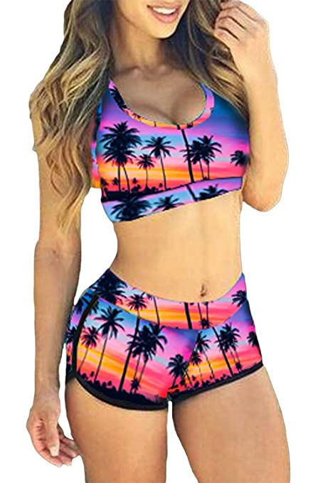 1a0dc30fb6e4 Image Unavailable. Image not available for. Color: Women's Retro Tankini  Swimsuit Racerback Vest Tank Tops Bra Shorts Sports Swimwear Bikini Leopard  Print ...