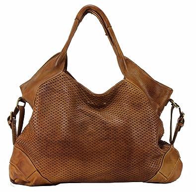 a33395df27177 BZNA Bag Tia Cognac Braun Italy Designer Damen Handtasche Schultertasche Tasche  Leder Shopper Neu
