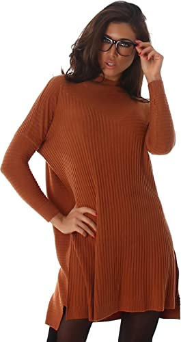 Voyelles señoras suéter mini vestido mini vestido largo de la camisa de gran tamaño bate de cuello r...