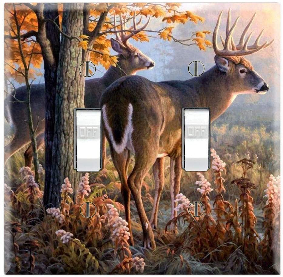 Graphics Wallplates Whitetail Buck Herd Forest Trees Double Toggle Wall Plate Cover Amazon Com