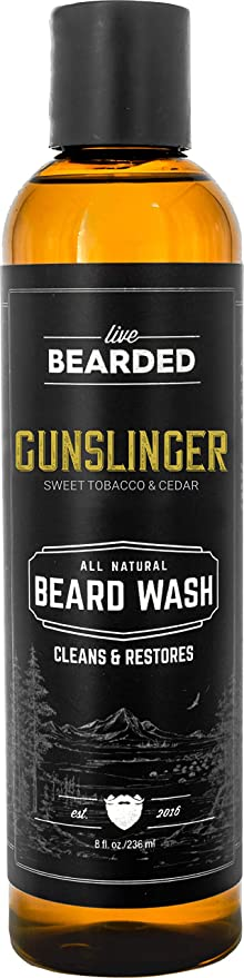 Live Bearded: Beard Wash - Gunslinger - Beard and Face Wash - 8 fl. oz. - Water-Based Formula with All-Natural Ingredients for a Gentle, Deep Cleanse - Made in the USA