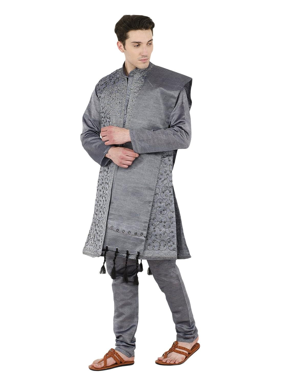 Kurta Pyjama pour Hommes 4 pi/èces Set Sherwani Manches Longues Bouton vers Le Bas Chemise Robe de soir/ée de Mariage Robe