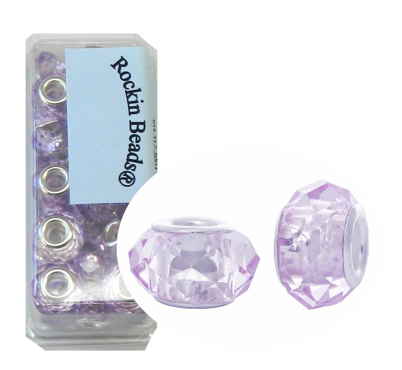 24 Lilac Purple Beads Faceted Glass Large 4.5-5mm Hole Silver Plated