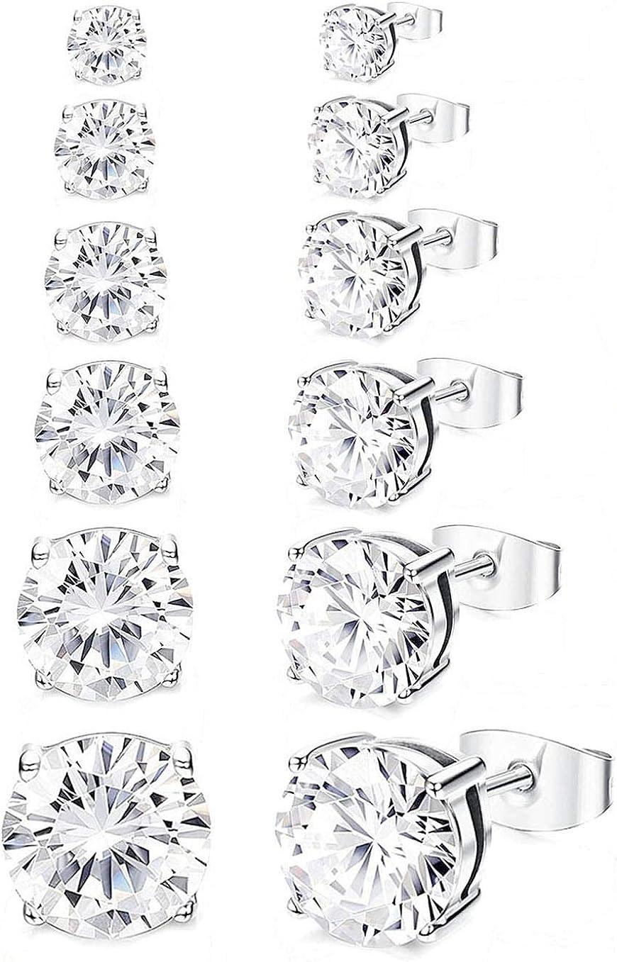 WAINIS 6 Pairs Cubic Zirconia Stud Earrings for Women Men Hypoallergenic Shiny CZ Ear Stud Piercing Earrings Set 3-8mm