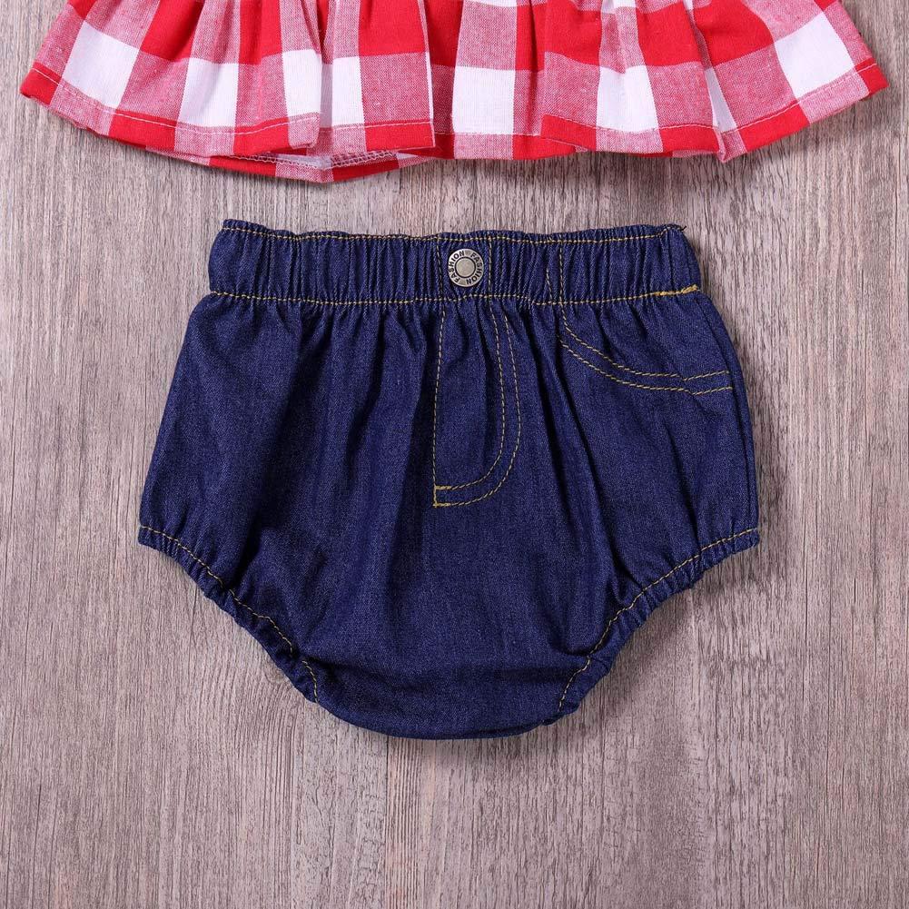 ANJUY Baby Girls Shorts Set Plaid Ruffle Bowknot Tank Top+Jeans Shorts+Headband