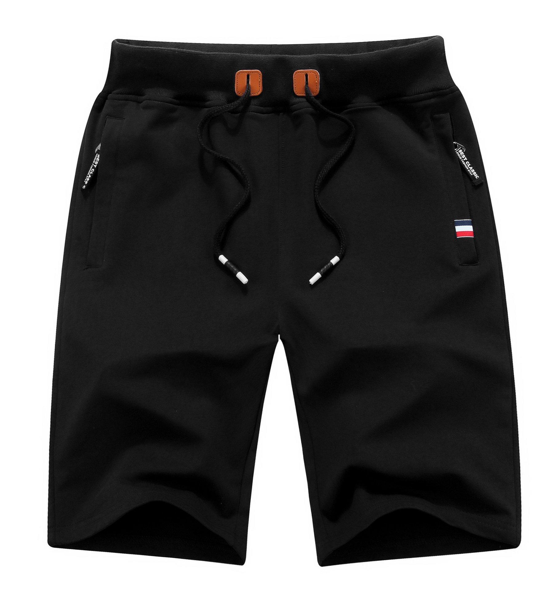MO GOOD Mens Casual Shorts Workout Fashion Comfy Shorts Summer Breathable Loose Shorts (Black, US (38-39))