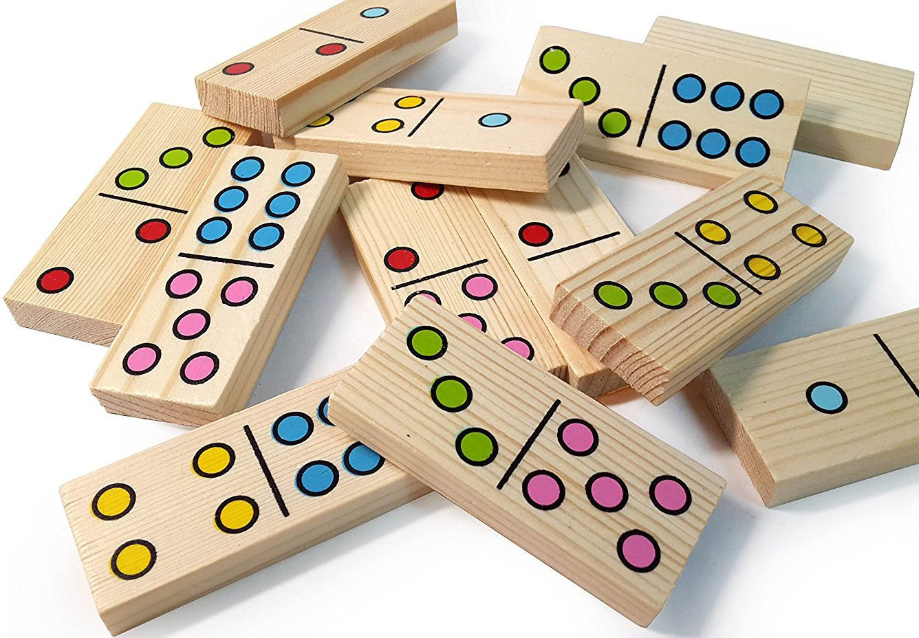 Dominoes for Kids - Wooden Dominos with Numbers - Math Domino Color Dots