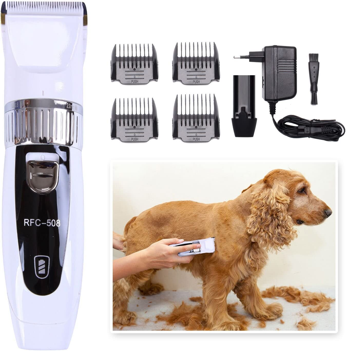 maquina para cortar pelo duro de perros, de color blanco, con perro cocker pelado