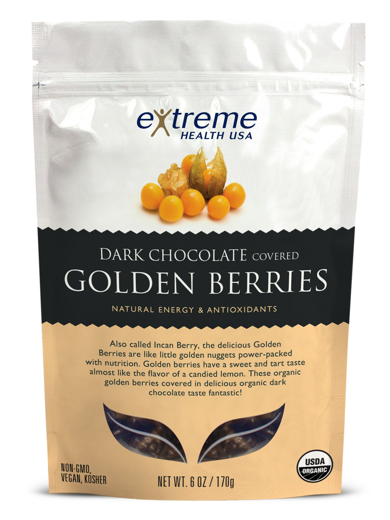 Extreme Health Usa Organic Golden Berries Covered with Dark Chocolate, 6-Ounce